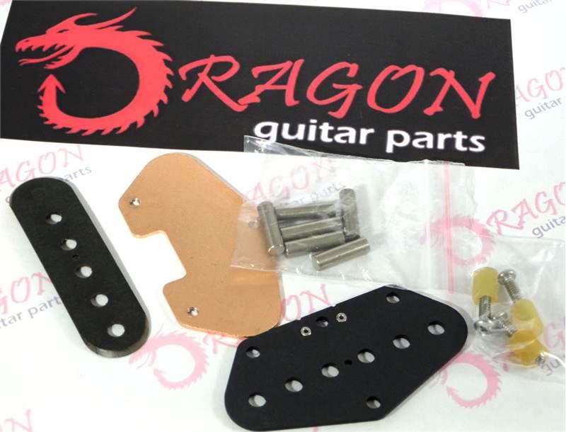Tele Bridge Pickup Bobbin Kit with Flatwork, Rivets, Copper Baseplate & 6 Alnico 5 magnets - STAGGERED